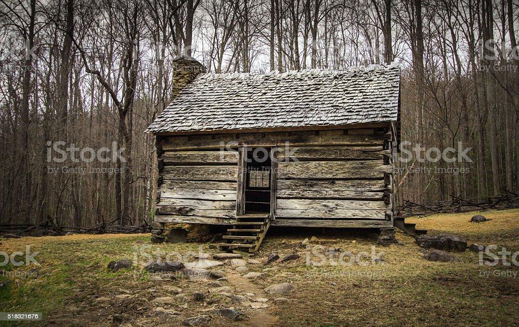 Pioneiro cabine nas Fumarento Montanhas Nacional Parque - foto de acervo