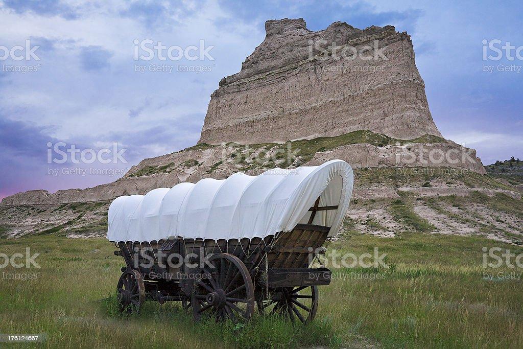 Pioneer Conestoga covered wagon, Scotts Bluff National Monument, Oregon Trail stock photo