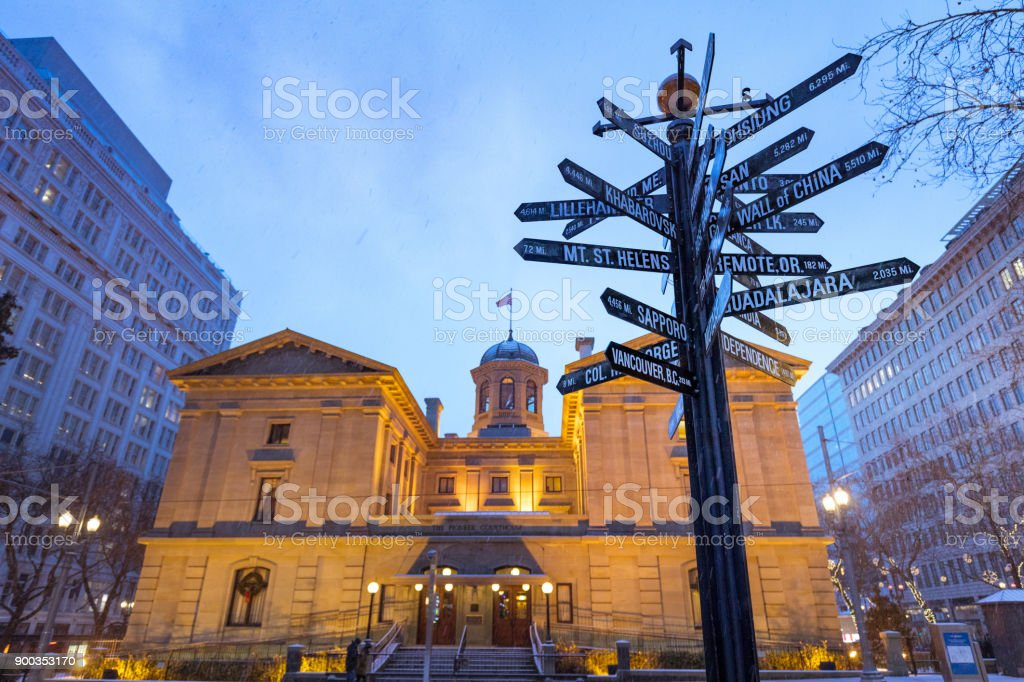 Pioneer Courthouse Square at Christmas night stock photo
