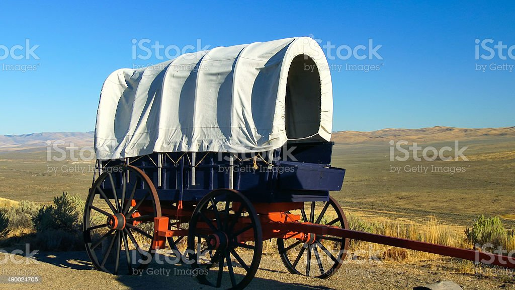 Pioneer Covered Wagon Along The Oregon Trail stock photo