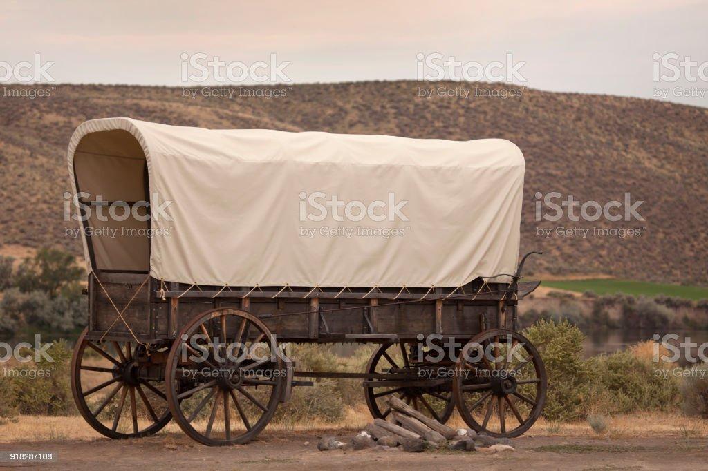 Pioneer covered wagon Oregon Trail Snake River Three Island State Park Idaho stock photo