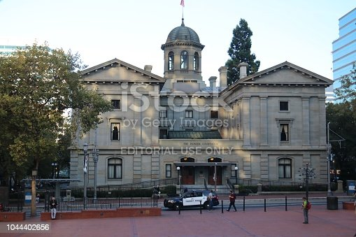 The Pioneer Courthouse is a federal courthouse in Portland, Oregon, United States. Built beginning in 1869, the structure is the oldest federal building in the Pacific Northwest, and the second oldest west of the Mississippi River.  Along with Pioneer Courthouse Square, it serves as the center of downtown Portland. It is also known as the Pioneer Post Office because a popular downtown Portland post office was, until 2005, located inside. The courthouse is one of four primary locations where the United States Court of Appeals for the Ninth Circuit hears oral arguments. It also houses the chambers of the Portland-based judges on the Ninth Circuit.