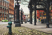 Seattle, United States - January 21st, 2015: Its the iconic street of Renaissance architecture at Pioneer Square in Winter Seattle Washington.