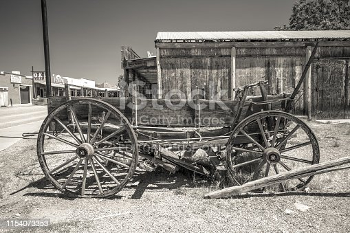 Tombstone, Arizona, USA - May 1, 2019: Traditional pioneer wagon on the streets of the Wild west tourist town of Tombstone Arizona.
