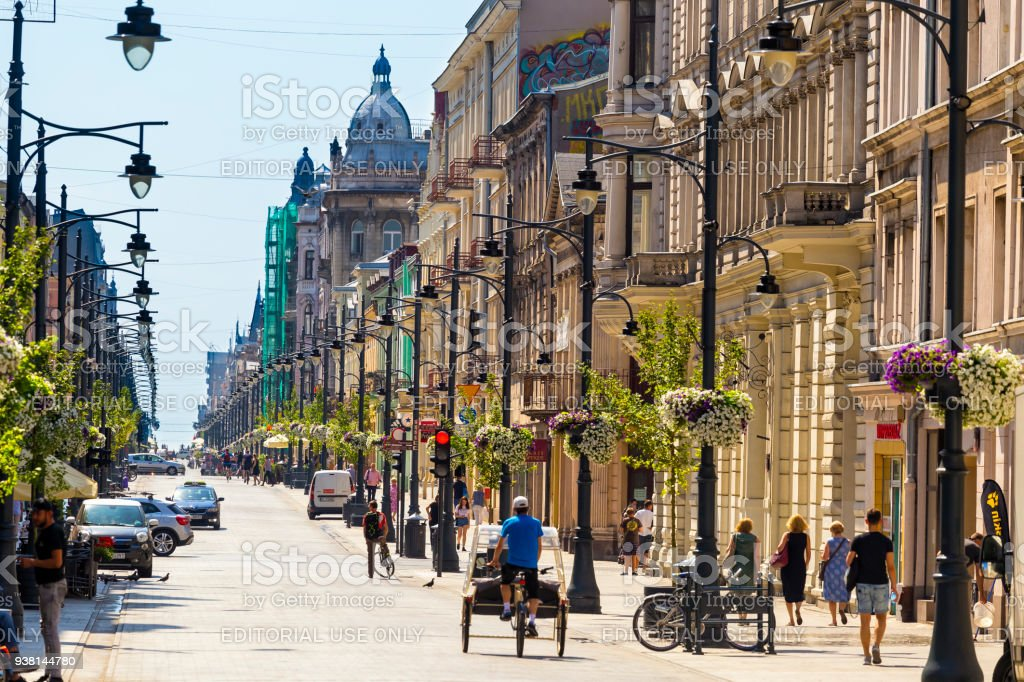 Piotrkowska Street In Lodz Poland Stock Photo & More