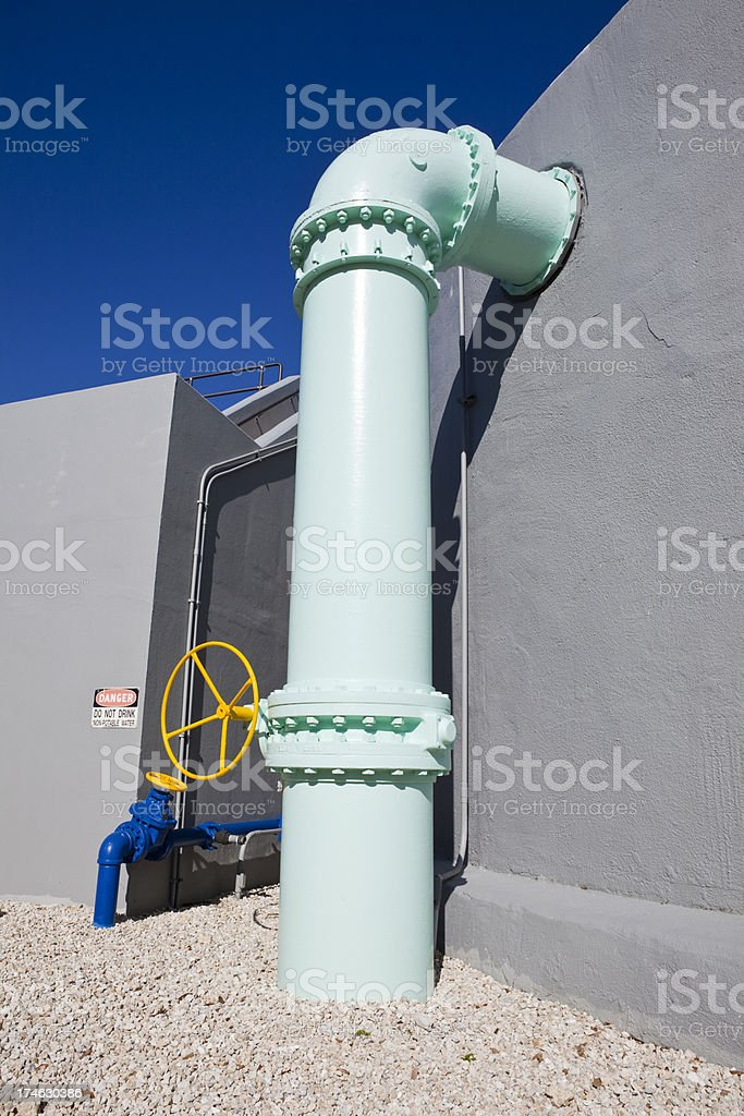 Pipe and Valve on Water Storage Tank royalty-free stock photo