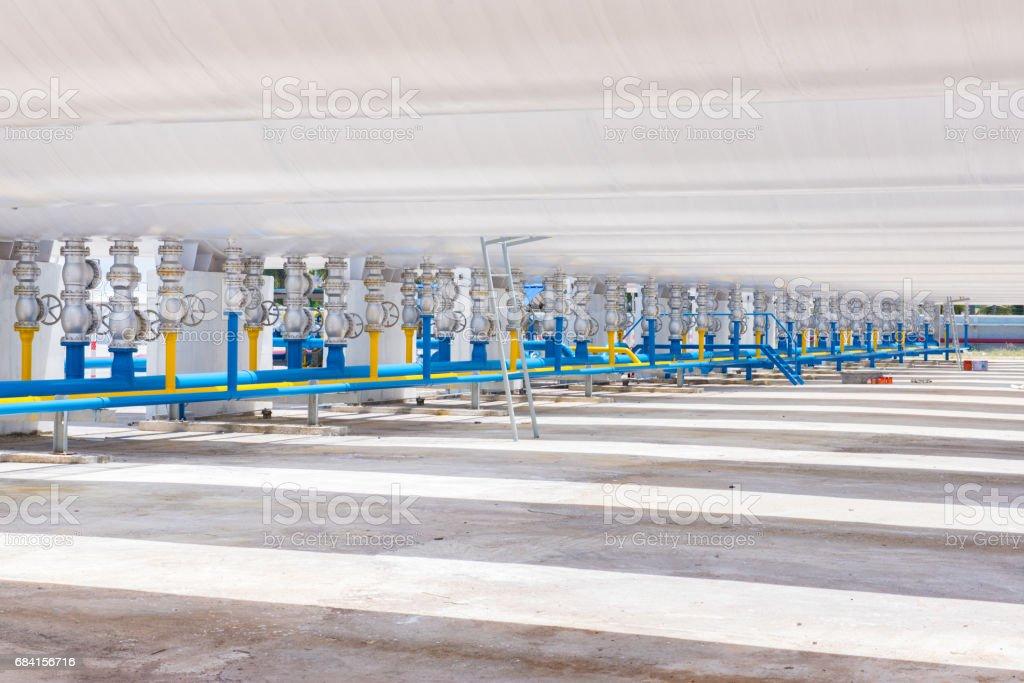 Pipe and Valves at gas plant zbiór zdjęć royalty-free