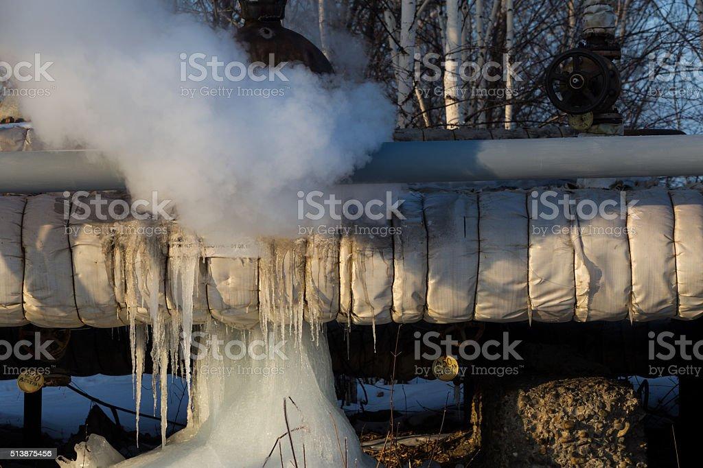 pipe breakage running hot water stock photo
