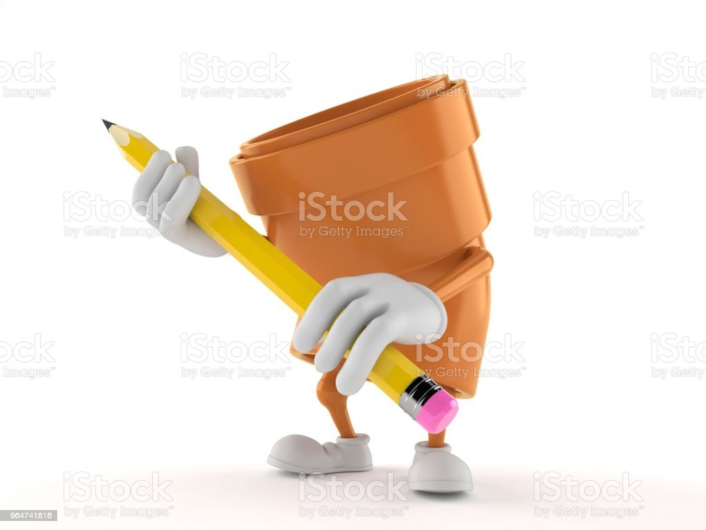 Pipe character holding pencil royalty-free stock photo