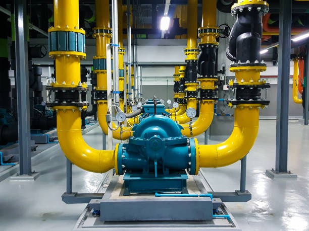 Pipe cooling system infrastructure building stock photo