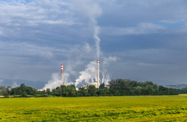 Pipe emissions into the atmosphere Industrial smoke from chimney on Cloudy sky. Factory pipes. Pipe with smoke. Pipe emissions into the atmosphere. Harmful emissions into the atmosphere. deleterious stock pictures, royalty-free photos & images