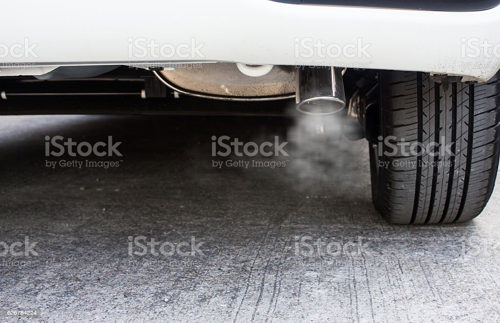 Pipe exhaust car smoke emission stock photo