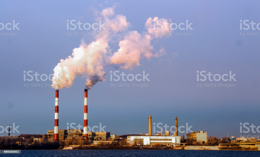 Pipe gas emission into the atmosphere stock photo