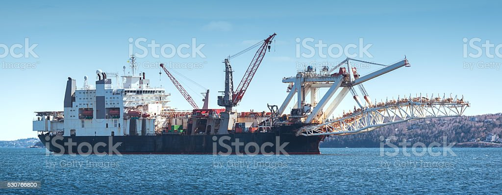 Pipe Laying Ship stock photo