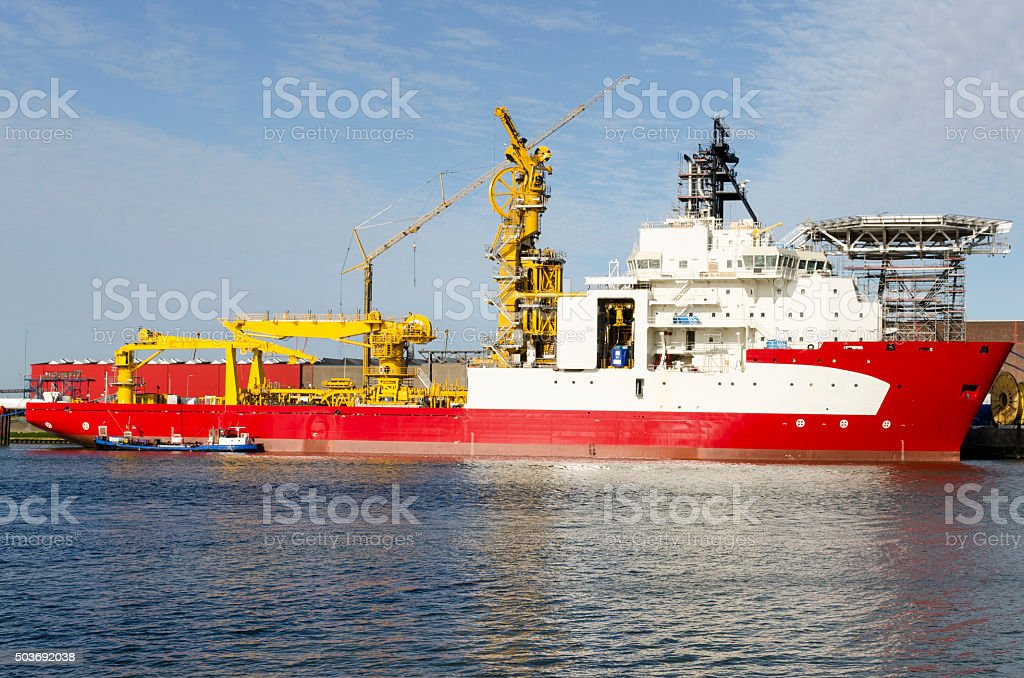 Pipe laying vessel anchored in the port of Rotterdam, Netherlands stock photo