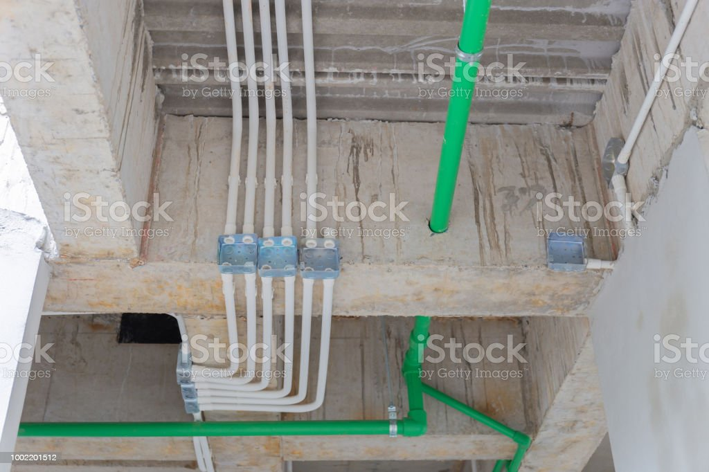 Pipe Line Water And Galvanized Steel Conduits And Upvc Pipes ... Wiring Joint on