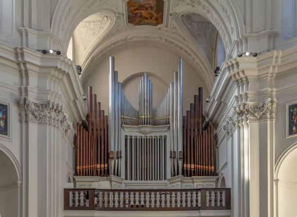 pipe organ at the Neumuenster Collegiate church stock photo