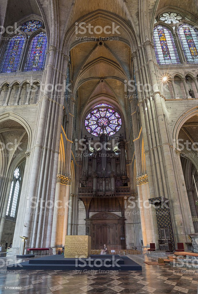 Pipe organ in Reims Notre-Dame Cathedral stock photo