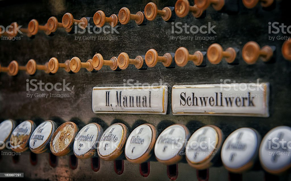 pipe organ keys stock photo