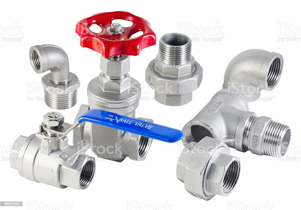 Pipe pieces with red and blue knobs isolated on white royalty-free stock photo