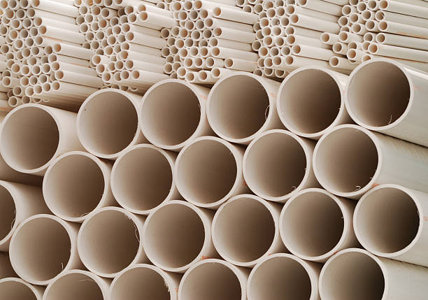 PVC Pipe Stack stock photo