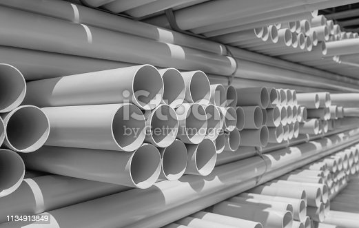 PVC pipe stacked in warehouse