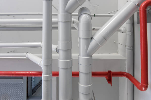 pipe system in building stock photo