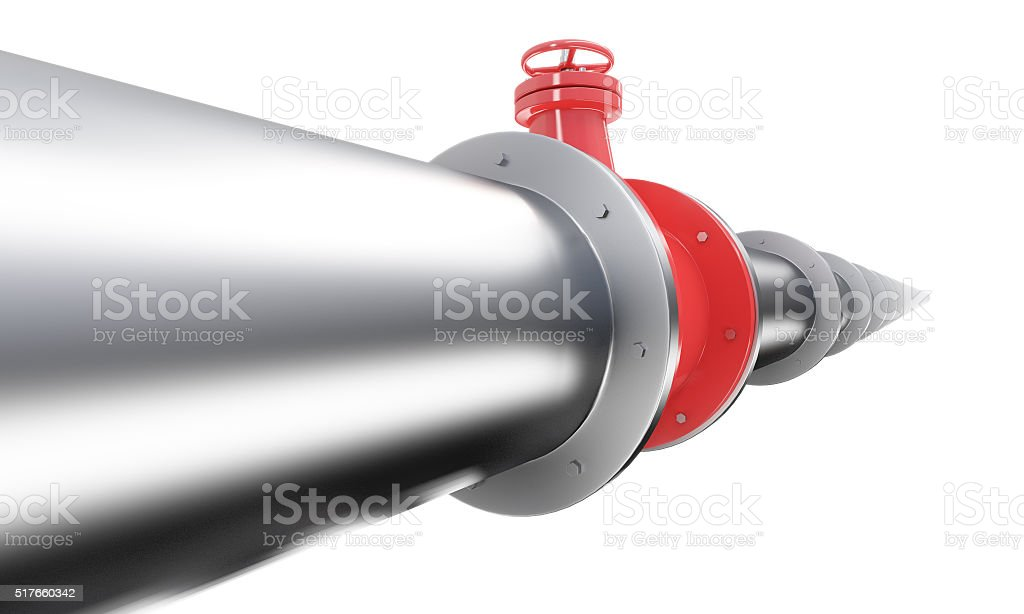 Pipe with red tap stock photo