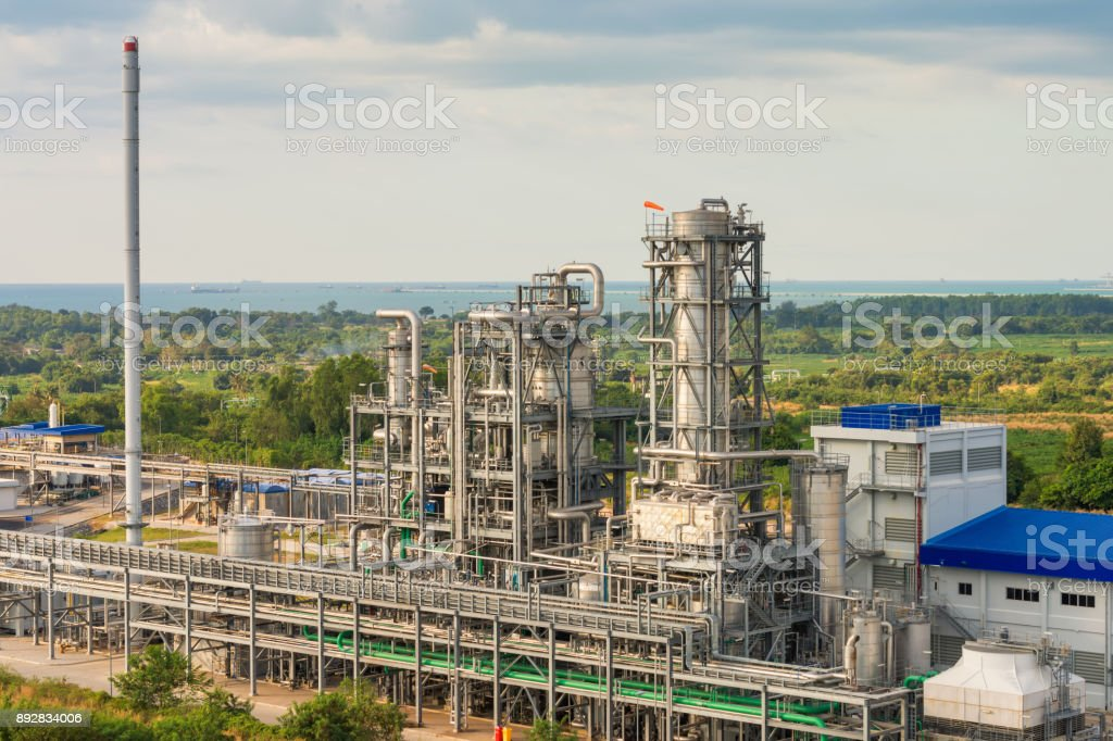 Pipeline and refinery tower stack of petrochemical plant stock photo