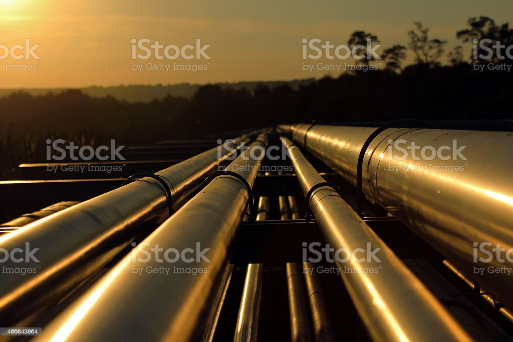 pipeline connection  from crude oil field stock photo