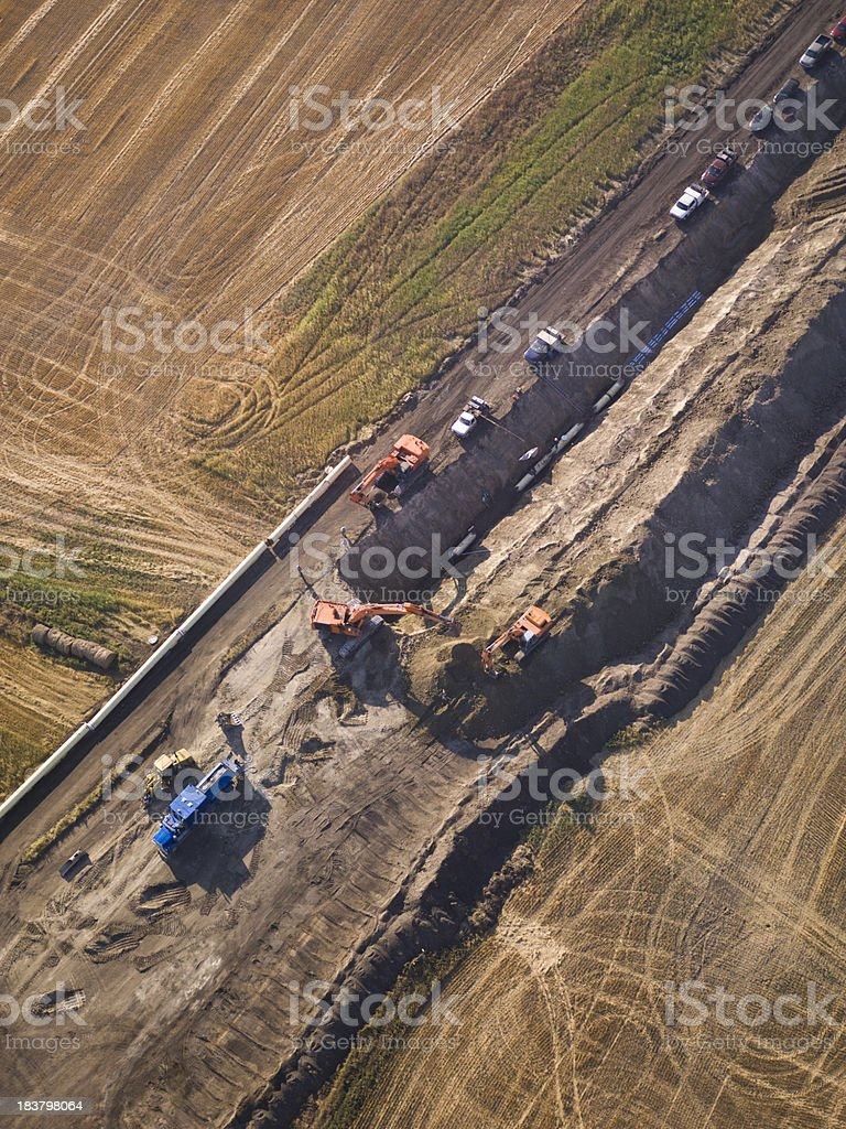 Pipeline Construction Aerial Photo stock photo