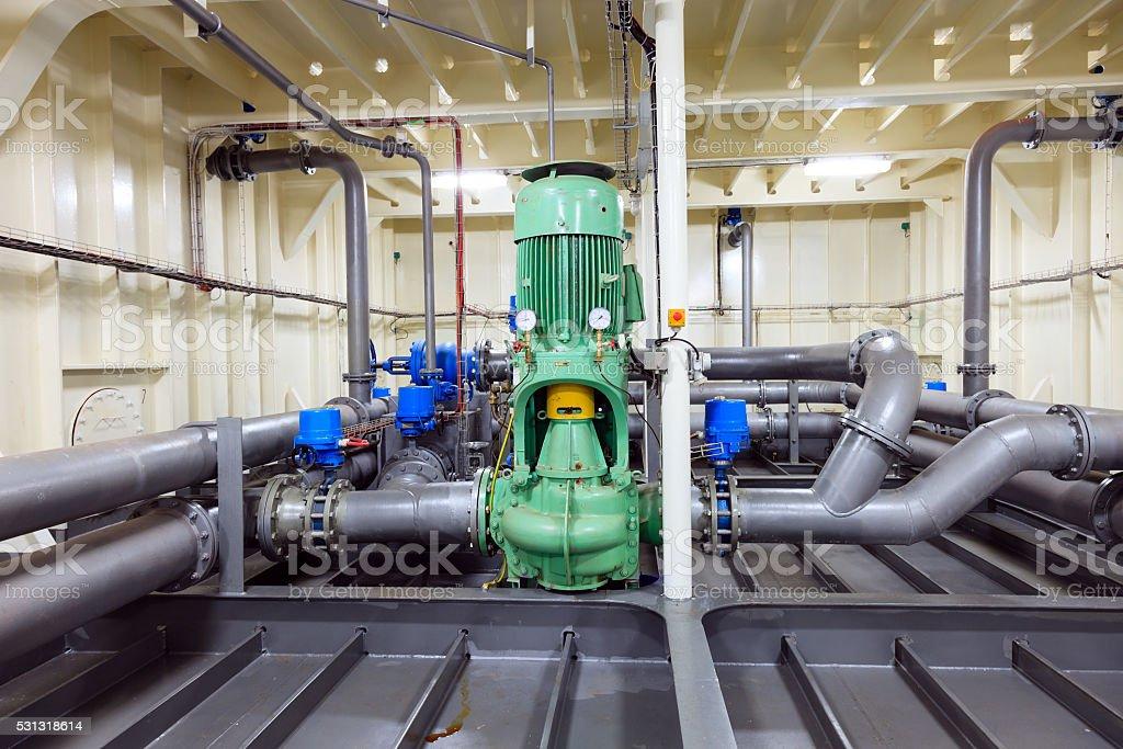 Pipeline equipment - Water pump stock photo