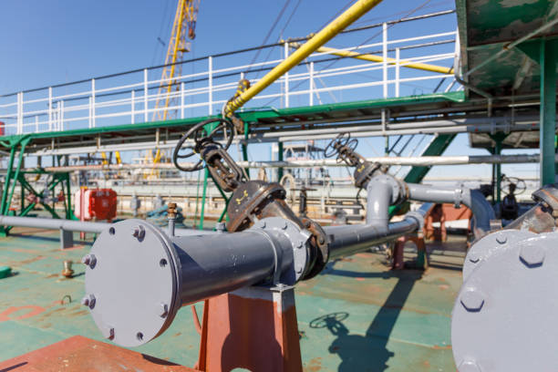 Pipeline for discharging liquid cargo from oil chemical tanker stock photo