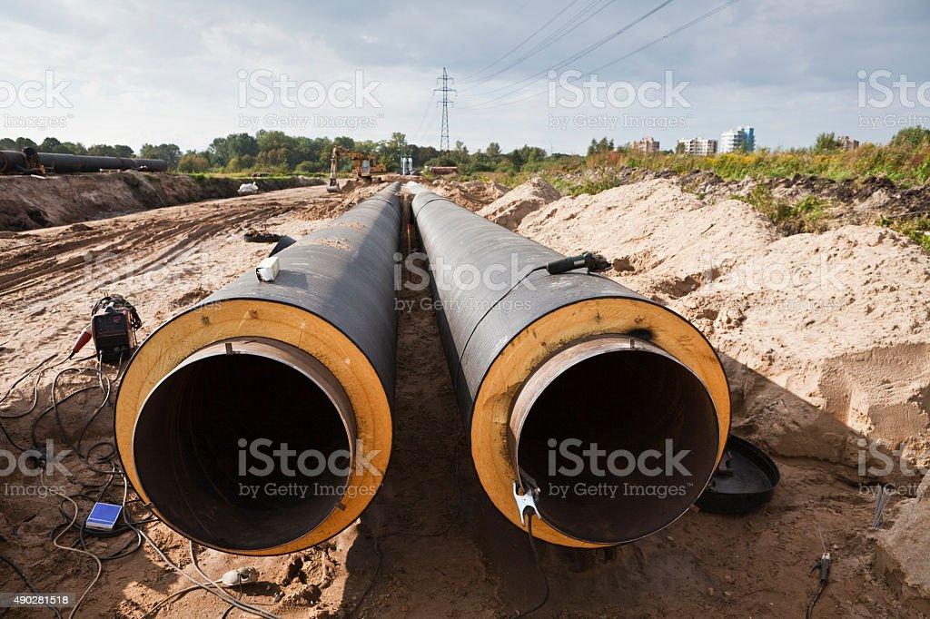 Pipeline installation stock photo