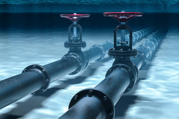 Pipeline lying on ocean bottom underwater. 3D rendering Pipeline lying on ocean bottom underwater. 3D rendering undersea stock pictures, royalty-free photos & images