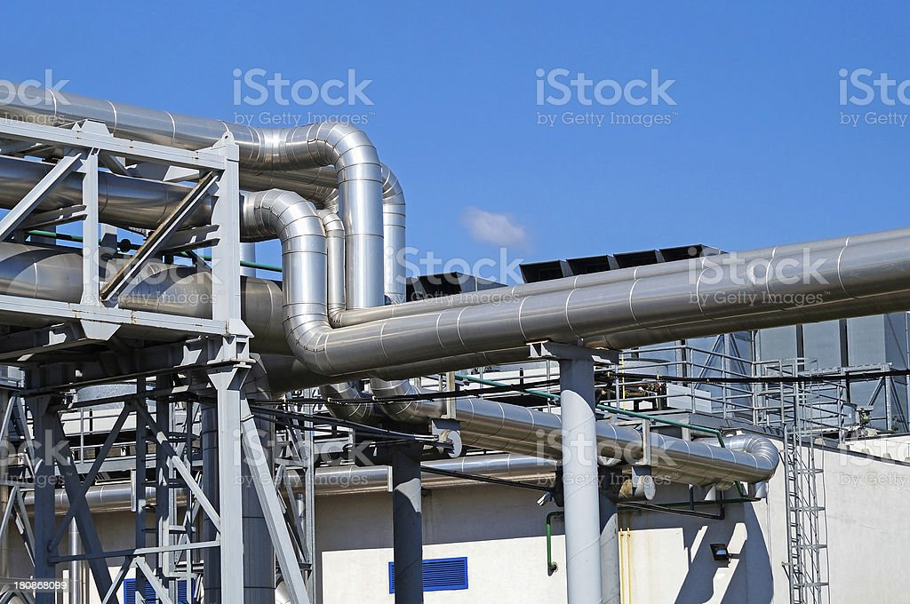 pipeline of the power plant stock photo