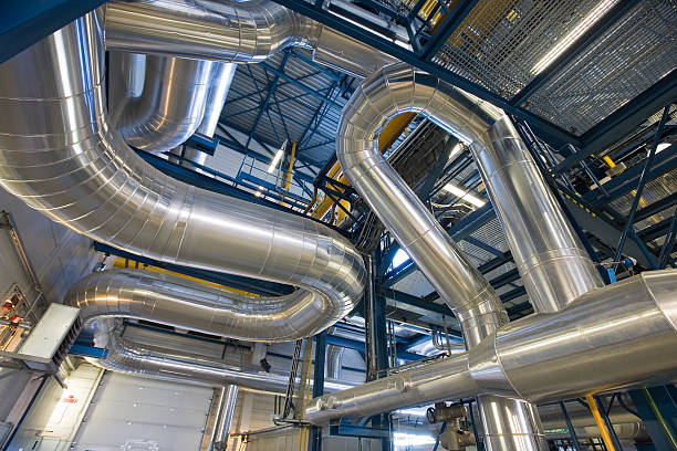 pipeline - cogeneration plant stock photos and pictures