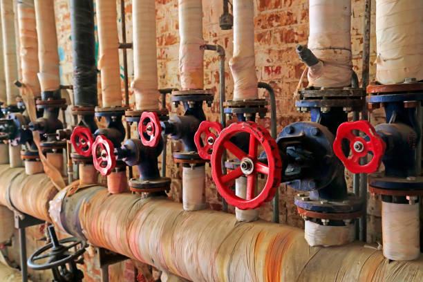 Pipeline-Ventil in der Fabrik, Closeup Fotos – Foto