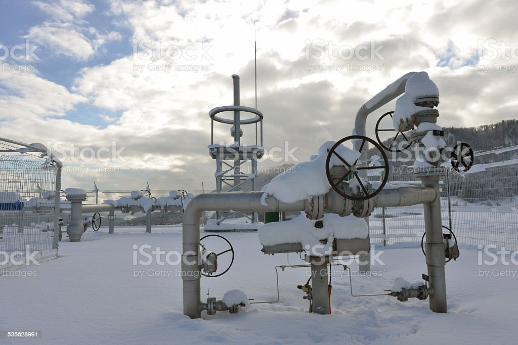 Pipeline velves in vinter stock photo