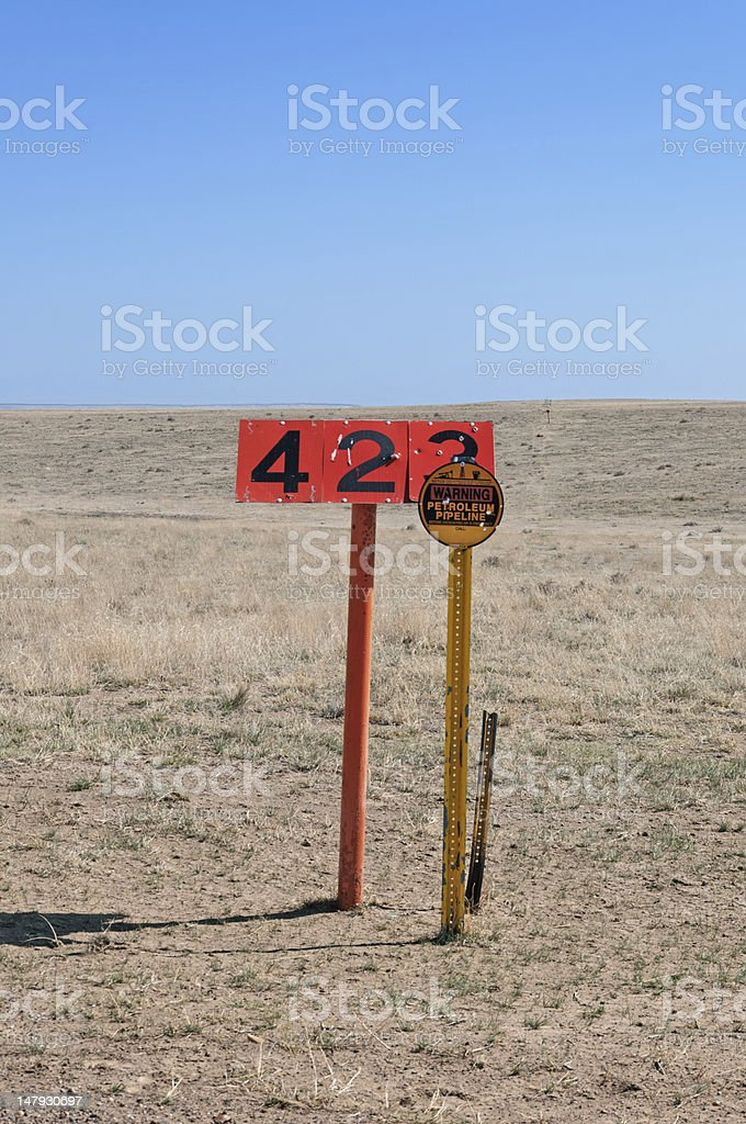 Pipeline Warning Sign and Marker stock photo