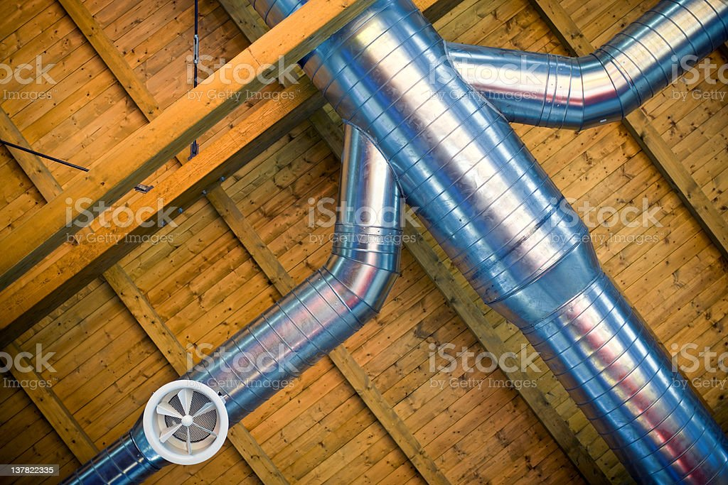 Pipeline with Electric Fan. Color Image stock photo