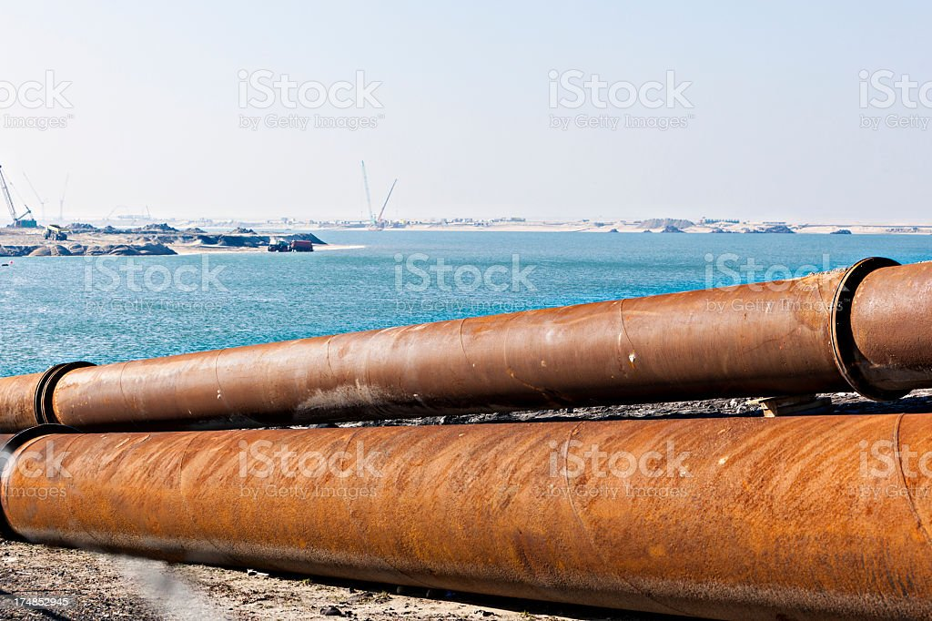Pipeline with second maasvlakte royalty-free stock photo
