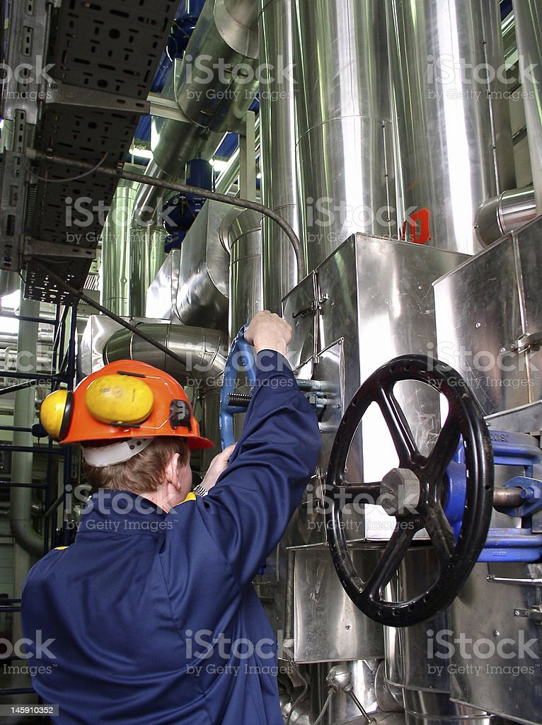 pipelines and engineer stock photo