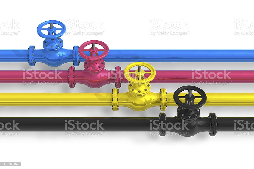 CMYK pipelines with valves royalty-free stock photo