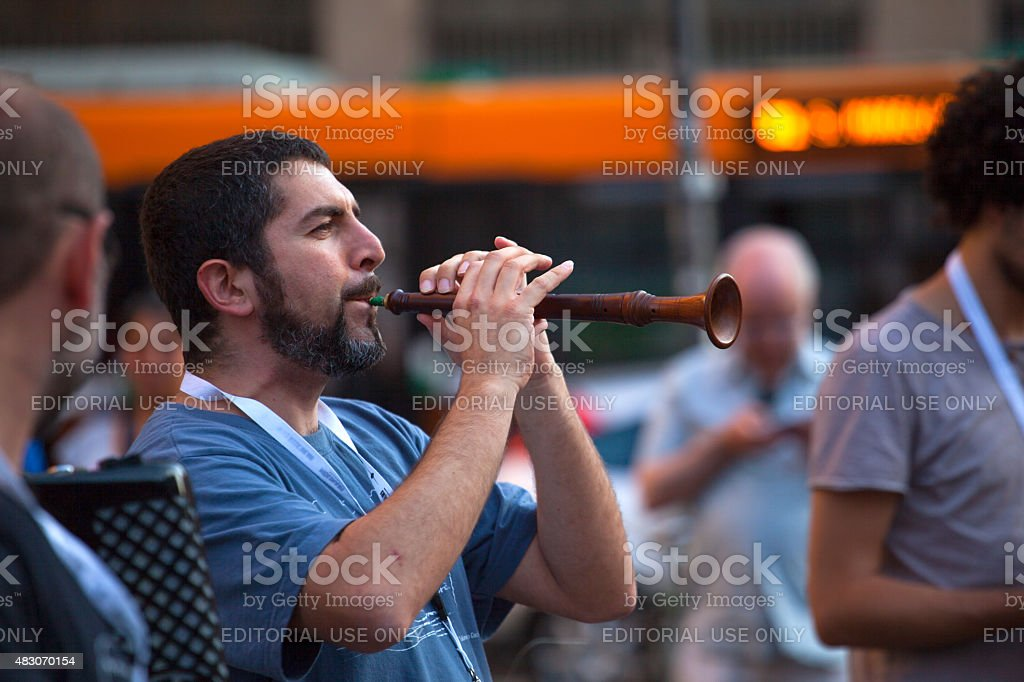 Piper during the street concert stock photo