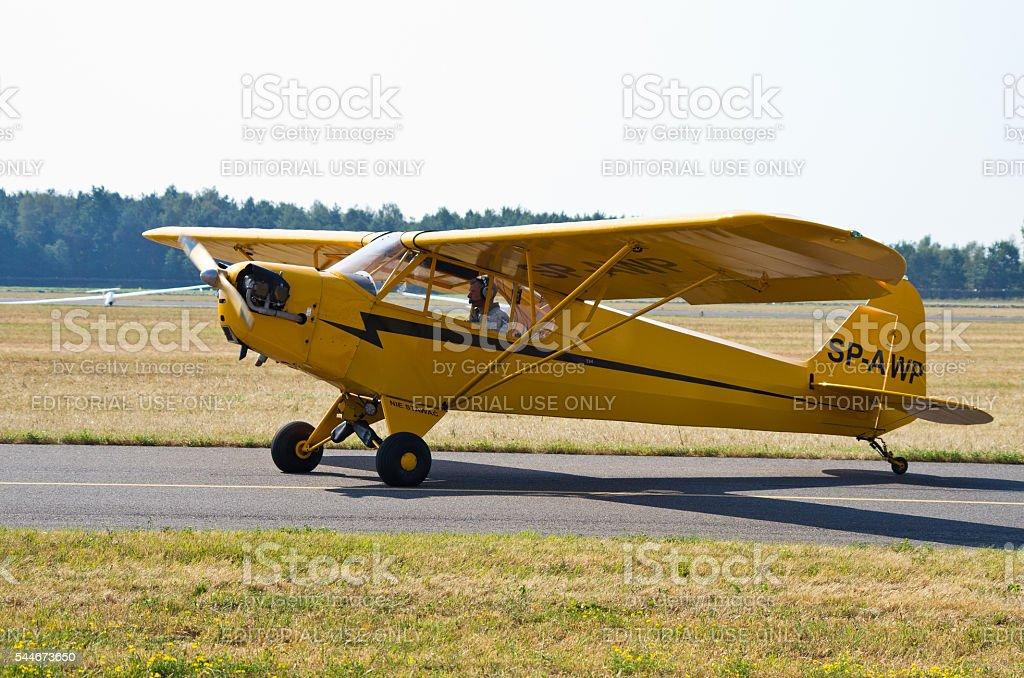 Piper J-3C-65 Cub on Radom Airshow, Poland stock photo