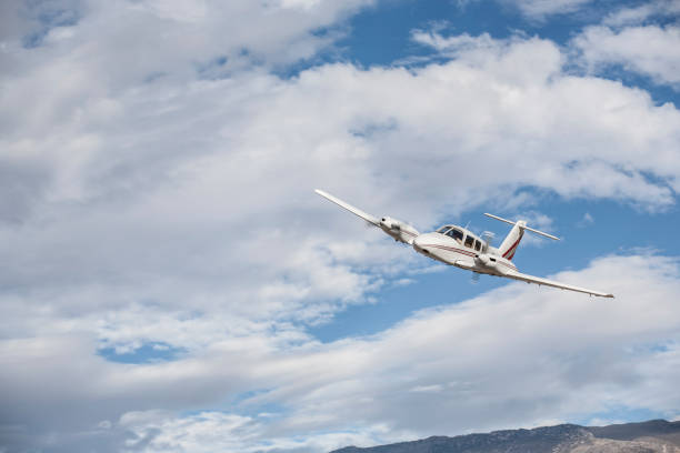 Piper PA-44-180T Twin engine aircraft at Bishop Airport (KBIH) Bishop, California, USA stock photo