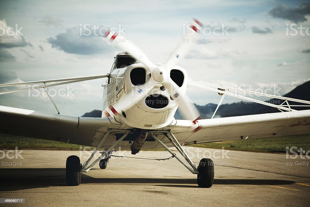 Piper pawnee airplane ready to take off stock photo