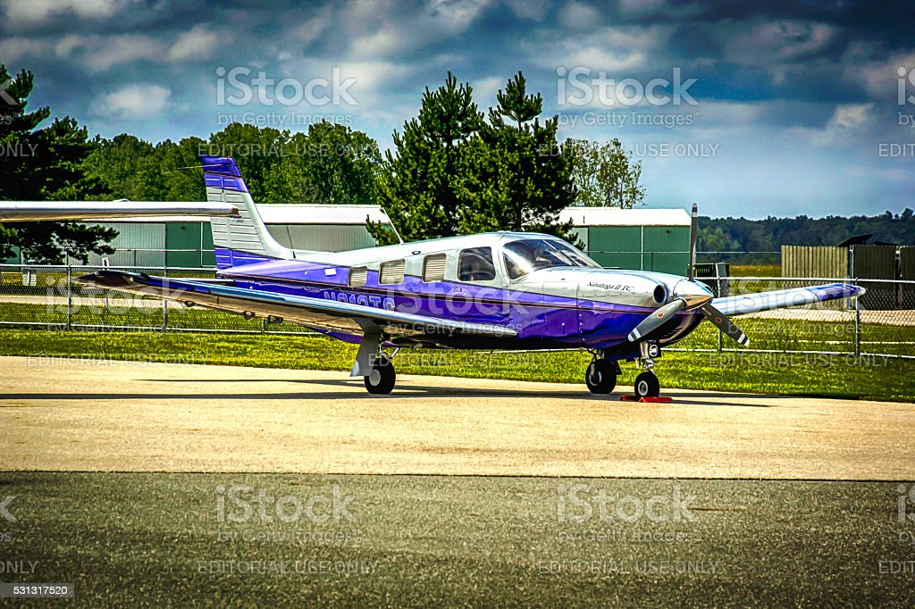 Piper Saratoga III civil aircraft at St.Clair county airport, MI stock photo