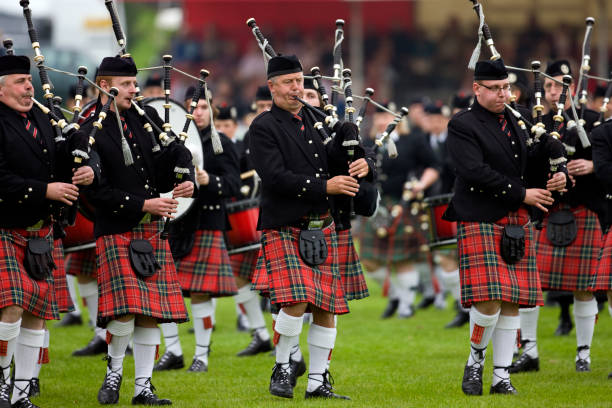 Pipers at the Highland Games - Dunoon - Scotland stock photo